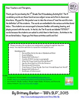 7th Grade Tier 2 Vocabulary Activity Kit