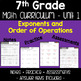 7th Grade Unit 1 Fraction Decimal Order of Operations and More