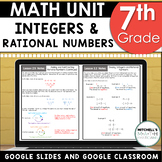 7th Grade Integers and Rational Numbers Math Unit Using Google