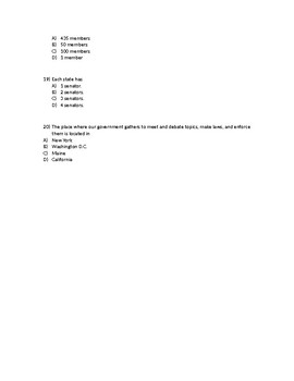 7th Grade Unit 3 Pre-assessment/Quiz 20 Multiple Choice