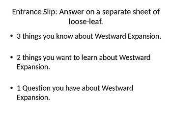 7th Grade Unit 4 Lesson 1 and 2; Introduction to Westward Expansion