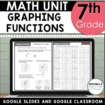 7th Grade Unit 5 Graphing Functions Slope and Constant of Proportionality GOOGLE