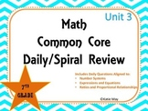 7th Grade Unit Three Spiral Common Core Daily Review for Interactive Boards