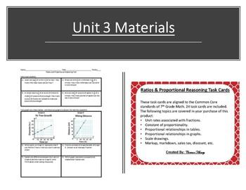 7th Grade Units 1, 2, & 3 Bundle - Task Cards + Quizzes!