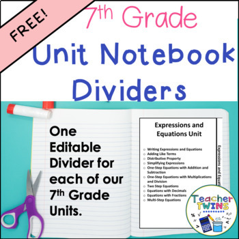7th Grade Units Notebook Dividers