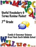 7th Grade Useful Vocabulary and Terms Puzzle Packet