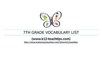 7th Grade Vocabulary (>350 words) Assessment Chart for Teacher/Student