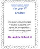 7th Grade Vocabulary Cards
