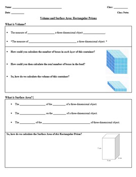 7th Grade Volume and Surface Area Note Sheet