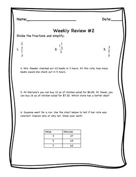7th Grade Weekly Review #2