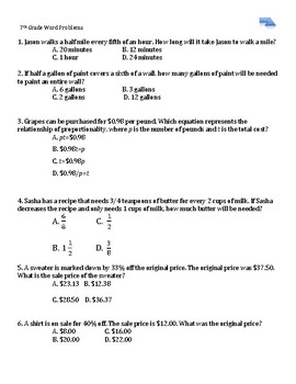 7th Grade Word Problems