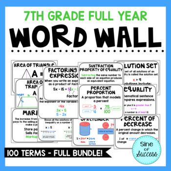 7th Grade Word Wall FULL BUNDLE