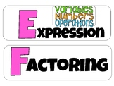7th Grade Word Wall terms for the Expressions&Equations Unit