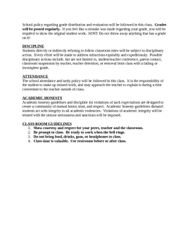 7th Grade World History Syllabus