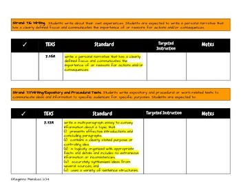 7th Grade Writing TEKS Snapshot Checklist