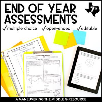 7th Grade Math Year End Assessments TEKS