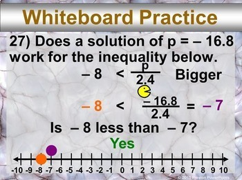 (7th) Writing and Graphing Inequalities in a PowerPoint Presentation