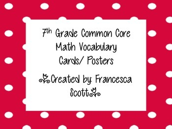7th Grade Common Core Math Vocabulary & Word Wall Cards
