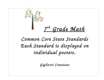 7th Math Grade Common Core Posters CCSS