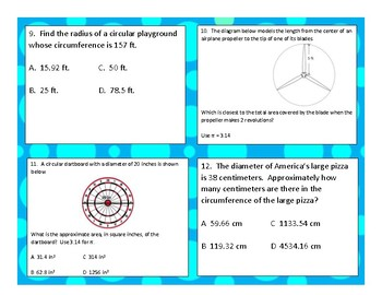 7th Math STAAR Reporting Category 3 Review Area & Circumference of Circles