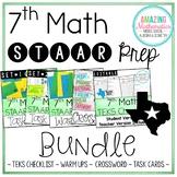 7th Math STAAR Review & Prep Bundle