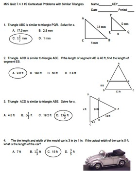 7th Math TCAP Mini Quizzes #2