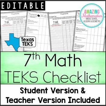 "7th Math TEKS Checklist - ""I Can"""