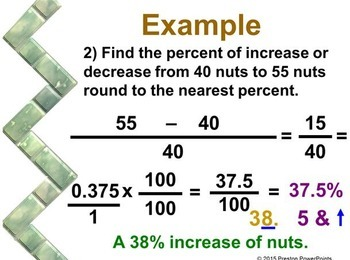(7th) Percent of Increase and Decrease in a PowerPoint Presentation