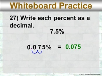 (7th) Percents and Decimals in a PowerPoint Presentation