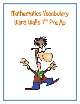 7th Pre Ap  Math Word Walls