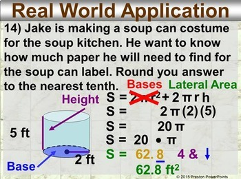(7th) Surface Areas of Cylinders in a PowerPoint Presentation