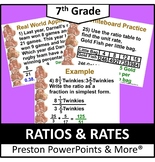 (7th) Ratios and Rates in a PowerPoint Presentation