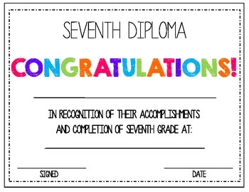 7th. Seventh. Grade Diploma