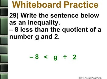 (7th) Inequalities by Multiplying or Dividing in a PowerPoint