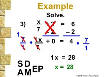 (7th) Solving Two-Step Equations in a PowerPoint Presentation