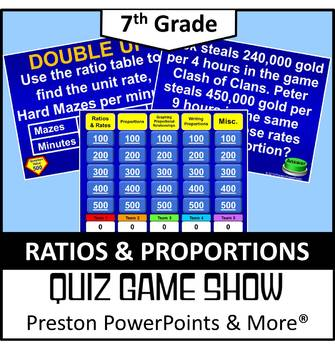 (7th) Quiz Show Game Ratios and Proportions in a PowerPoin