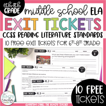7th and 8th Grade Literature Exit Tickets Formative Assessment {10 FREE Tickets}