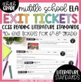 7th and 8th Grade Literature Exit Tickets Formative Assessment Common Core