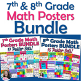 7th and 8th Grade Math Posters BUNDLE for Vocabulary Word Wall
