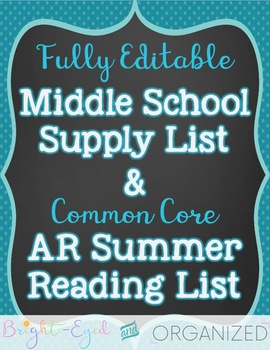 7th & 8th Supply List + Accelerated Reader Common Core Rea