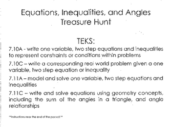 7th gr Equations, Inequalities, and Angles Treasure Hunt