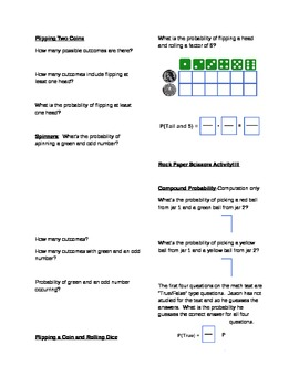 7th grade Common Core Compound Probability Notes Page