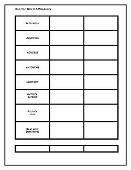 7th grade Common Core ELA Vocabulary