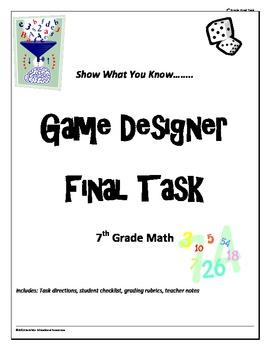 """7th grade Common Core Math """"Game Designer"""" final project"""