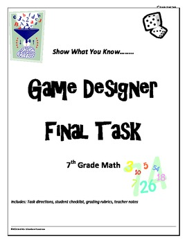 "7th grade Common Core Math ""Game Designer"" final project"