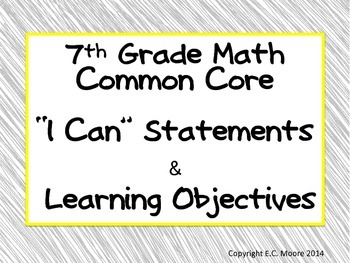 7th grade Common Core Math I CAN Statements