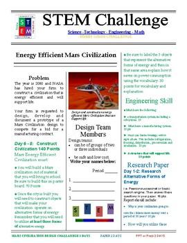 Energy Efficient Mars Civilization STEM Challenge - 7th grade
