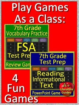 7th grade FSA Writing AND Reading Practice Tests AND Game Show Bundle!