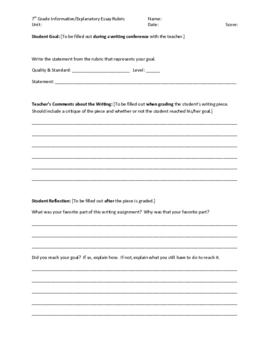 7th grade Informative/Explanatory Writing Rubric - Common Core