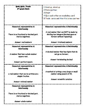 7th grade Math Vocabulary (Quiz, Quiz, Trade) STAAR review